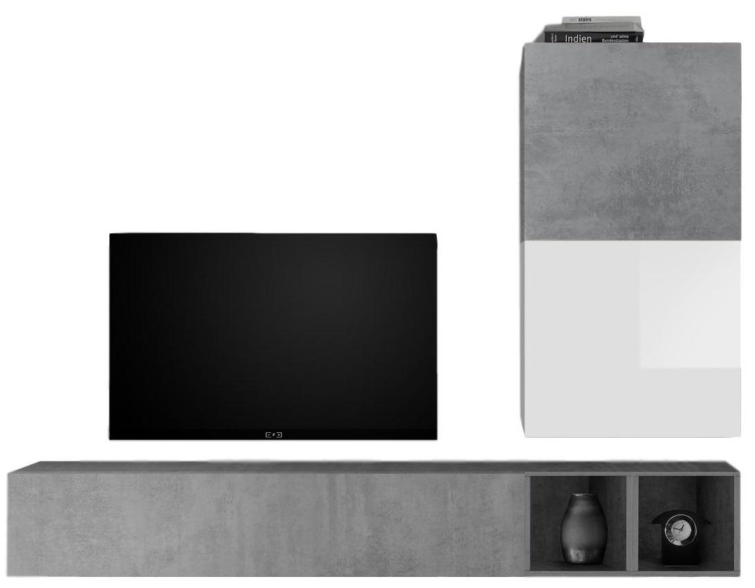 TV-wandmeubel set Anderson in hoogglans wit met grijs beton