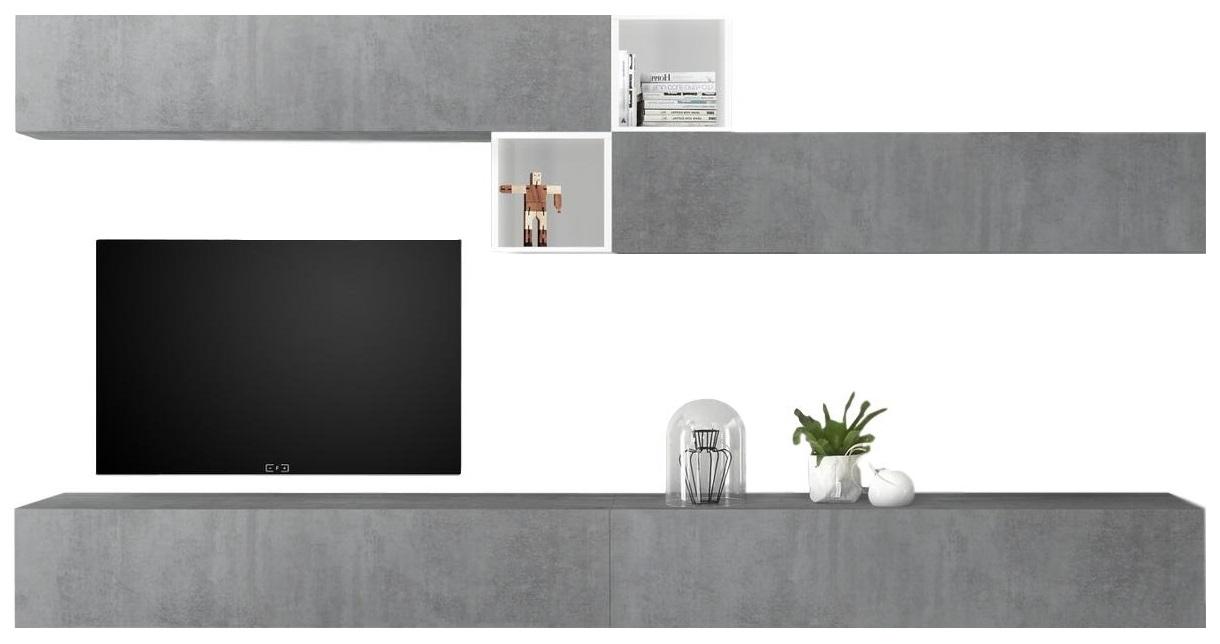 TV-wandmeubel set Anya in hoogglans wit met grijs beton
