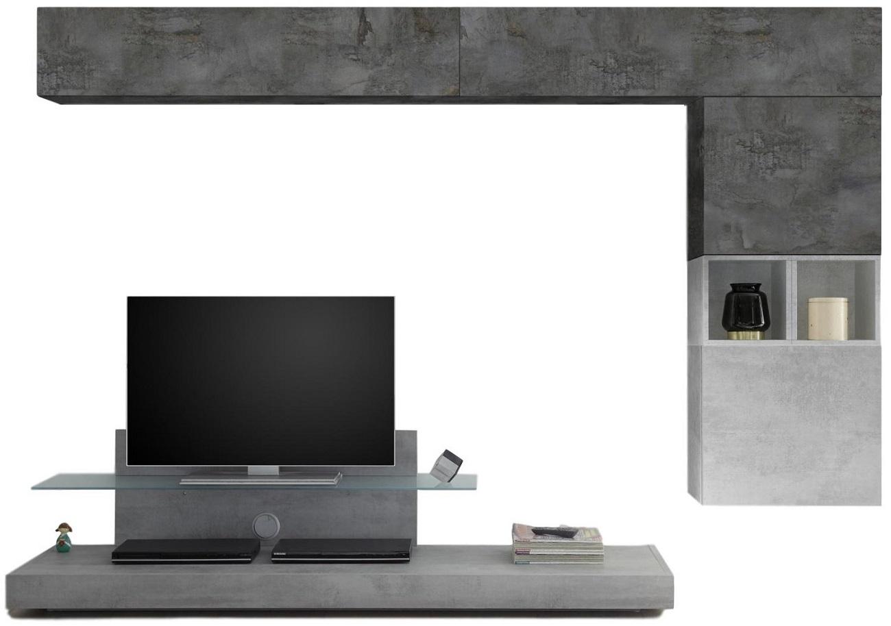 TV wandmeubel set Chanel in grijs beton met oxid
