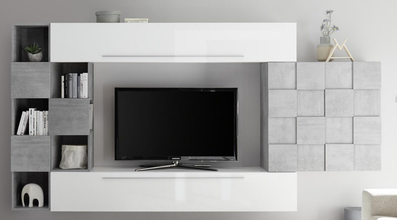 TV-wandmeubel set Dino in hoogglans wit met grijs beton