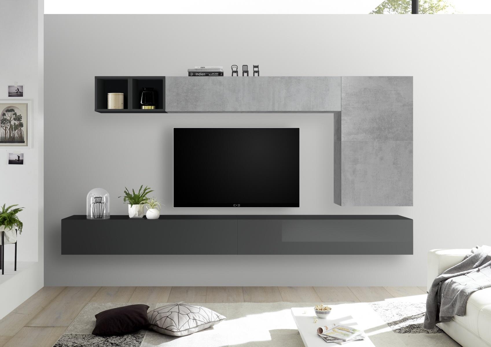 TV-wandmeubel set Dorado in hoogglans grijs met grijs beton