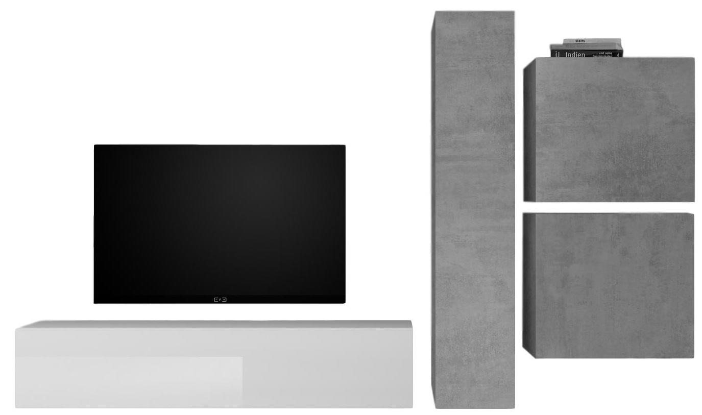 TV wandmeubel set Hodor in hoogglans wit met grijs beton