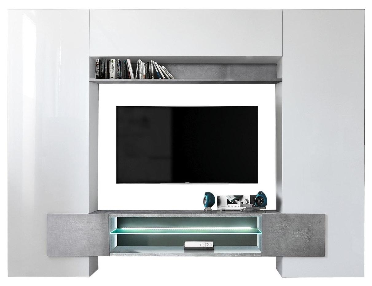 TV wandmeubel set Incastro 191 cm hoog Hoogglans wit met grijs beton
