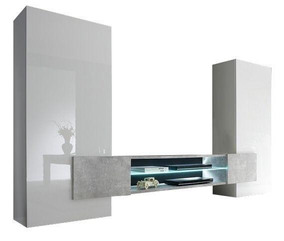 TV-wandmeubel set Incastro 258 cm breed Hoogglans wit met grijs beton