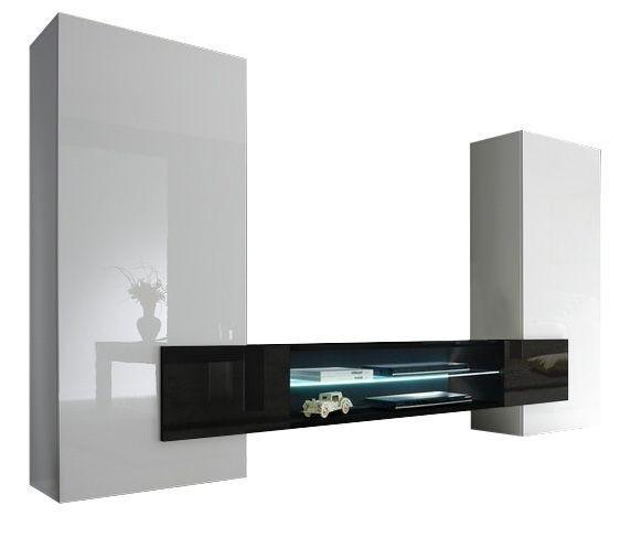 Tv Wandmeubel set Incastro 258 cm breed - Hoogglans wit met zwart