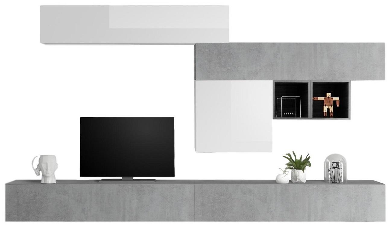 TV wandmeubel set Kera in hoogglans wit met grijs beton