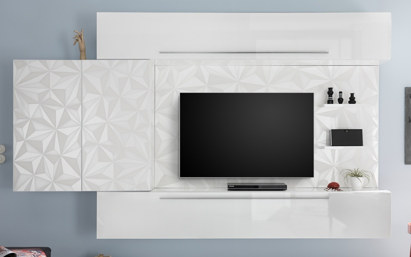 TV-wandmeubel set Kristal in hoogglans wit