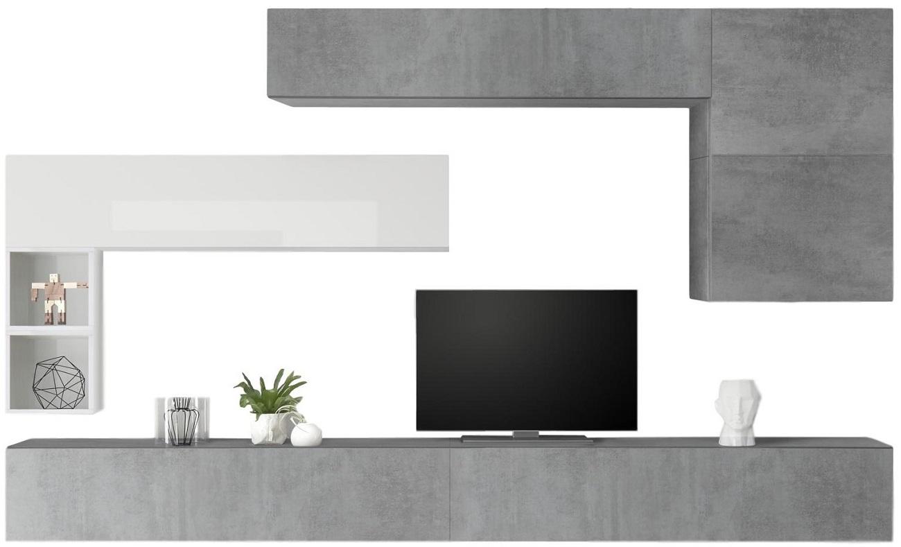 TV-wandmeubel set Linux in hoogglans wit met grijs beton