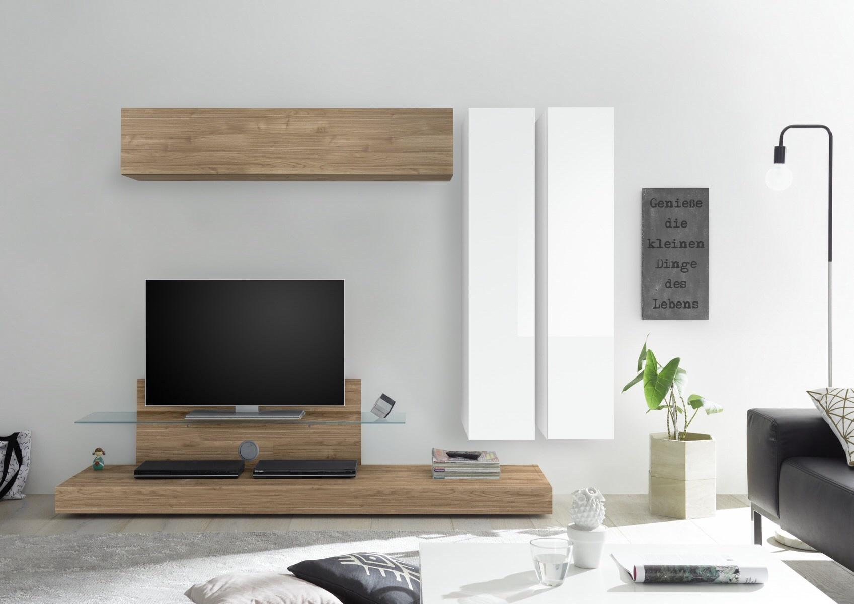 TV-wandmeubel set Maroon in hoogglans wit met eiken