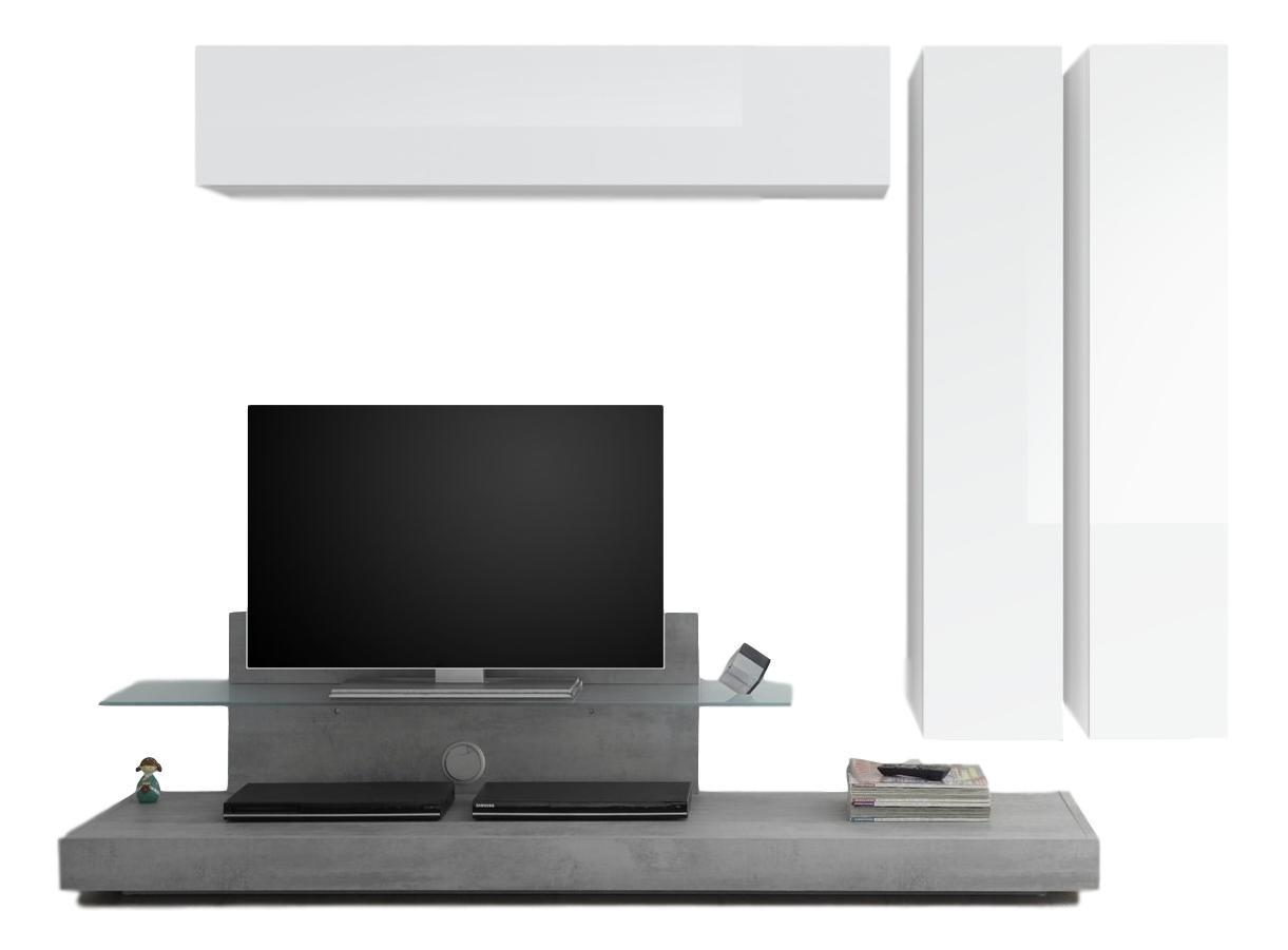 TV-wandmeubel set Maroon in hoogglans wit met grijs beton