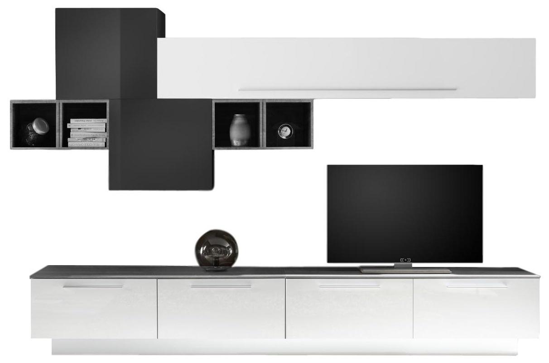 TV-wandmeubel set Matiz in hoogglans wit en oxid met grijs beton
