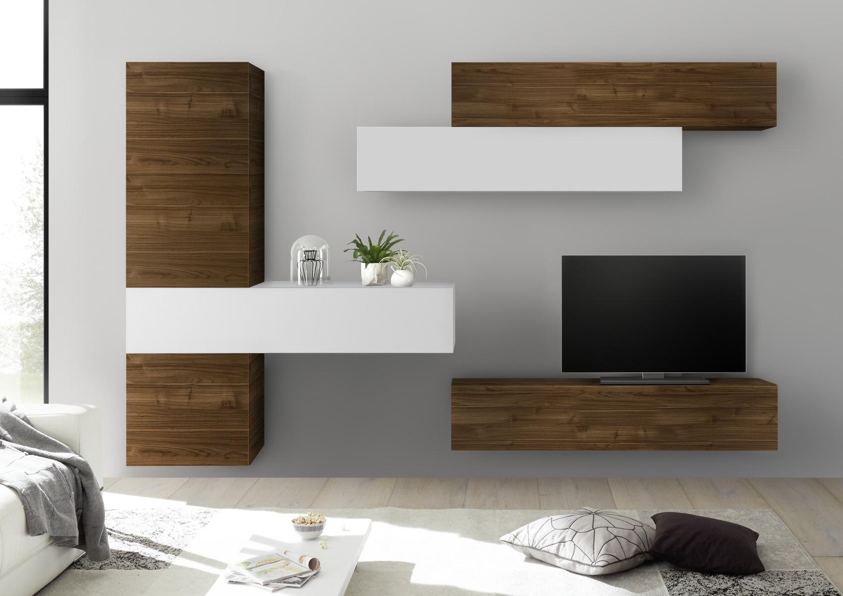 TV-wandmeubel set Memo in hoogglans wit met walnoot