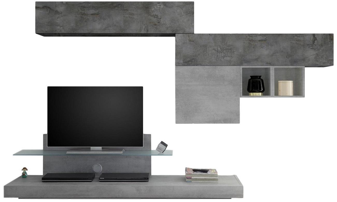 TV-wandmeubel set Mistro in grijs beton met Oxid