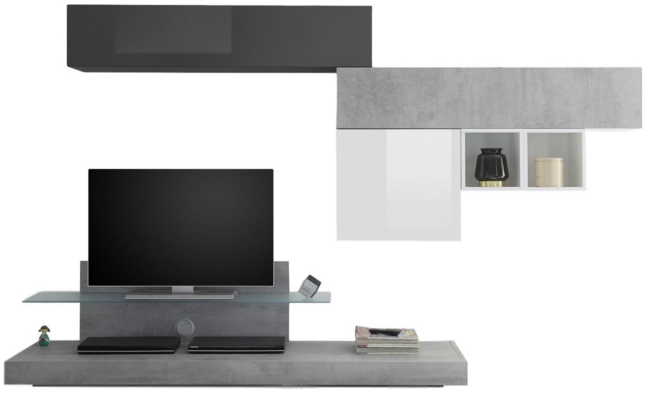 TV-wandmeubel set Mistro in hoogglans wit-grijs beton-hoogglans grijs