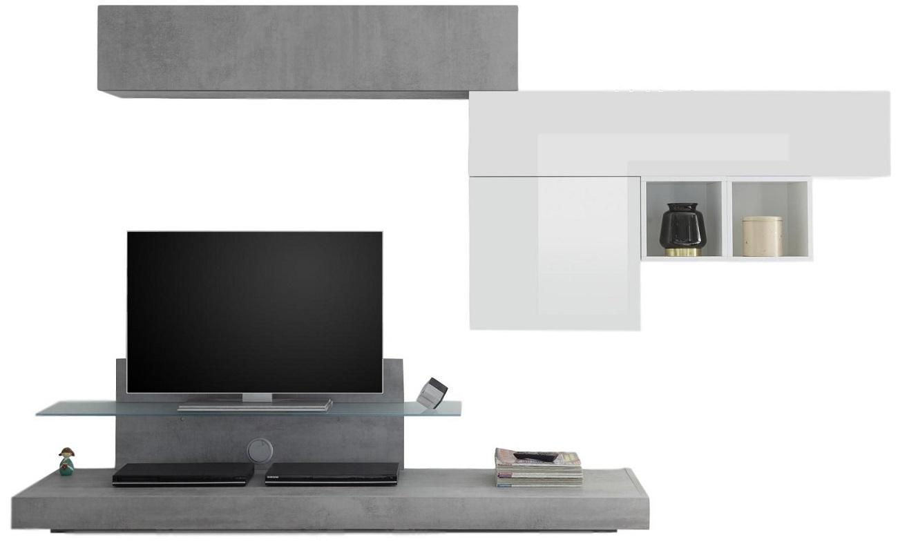 TV-wandmeubel set Mistro in hoogglans wit met grijs beton