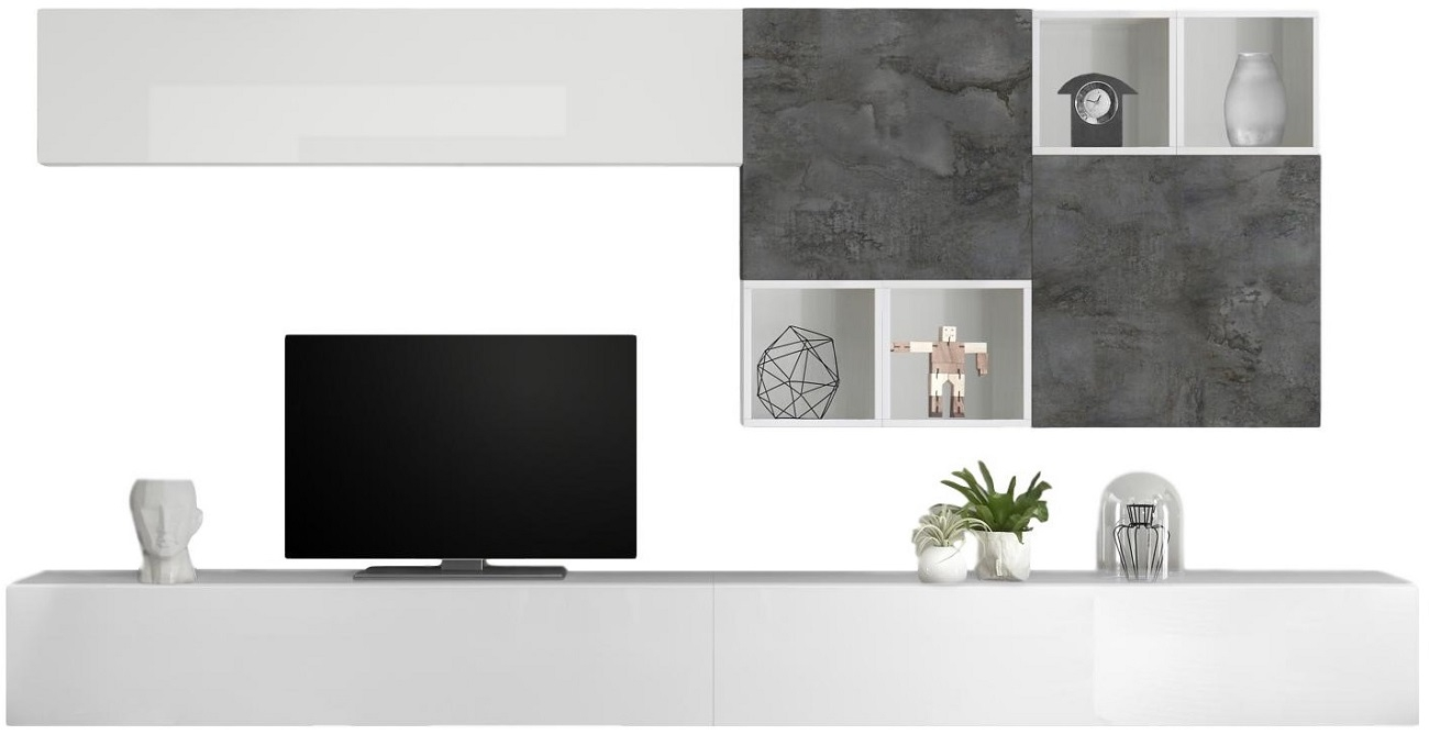 TV-wandmeubel set Sansa in hoogglans wit met Oxid
