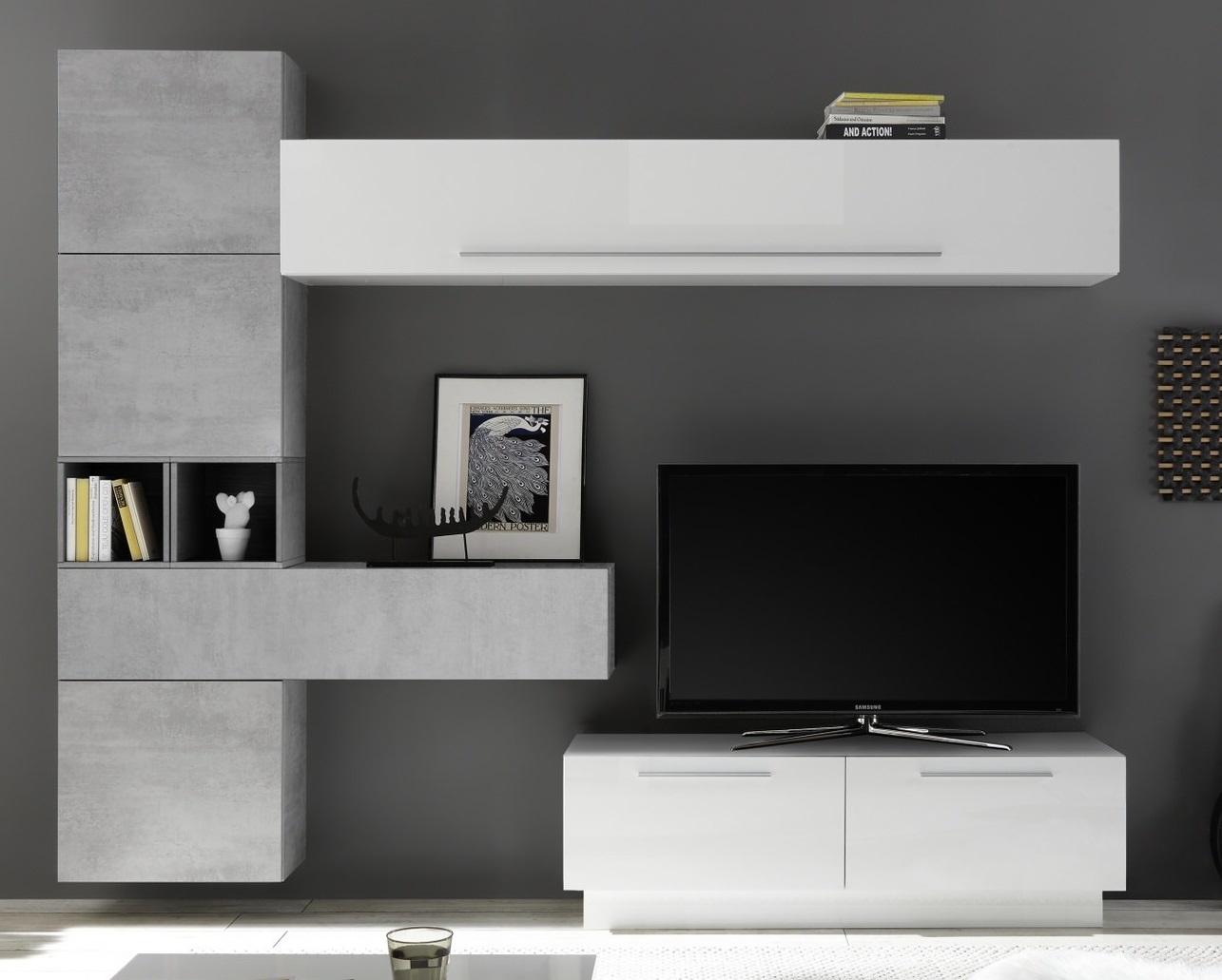 TV wandmeubel set Toca in hoogglans wit met grijs beton