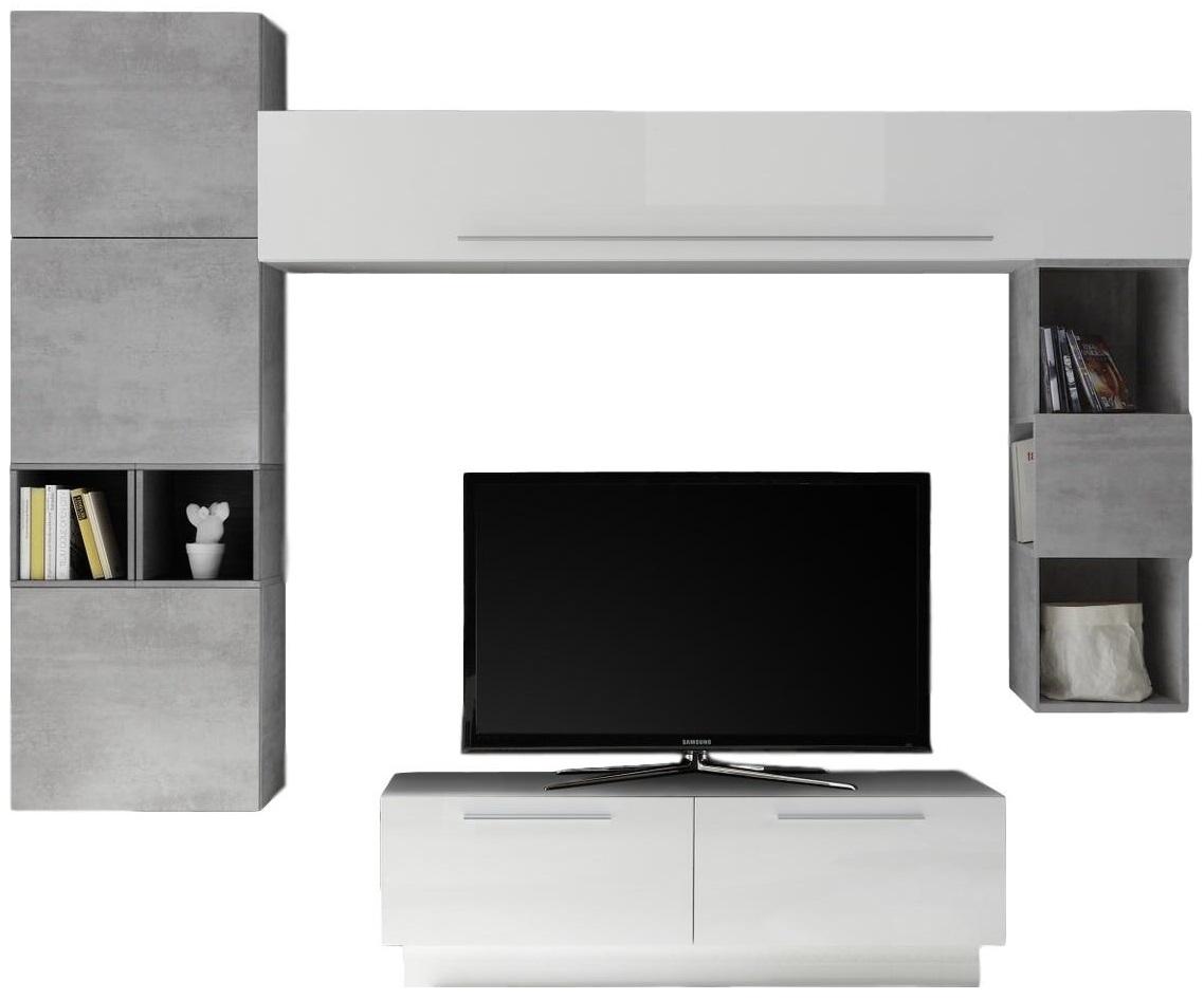 TV-wandmeubel set Wolker in hoogglans wit met grijs beton