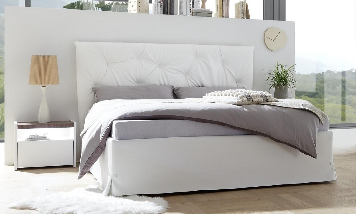 Tweepersoonsbed Amalti alpaca 160x200cm in wit