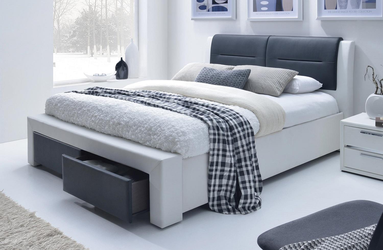Tweepersoonsbed Drassa 160x200cm in wit met zwart