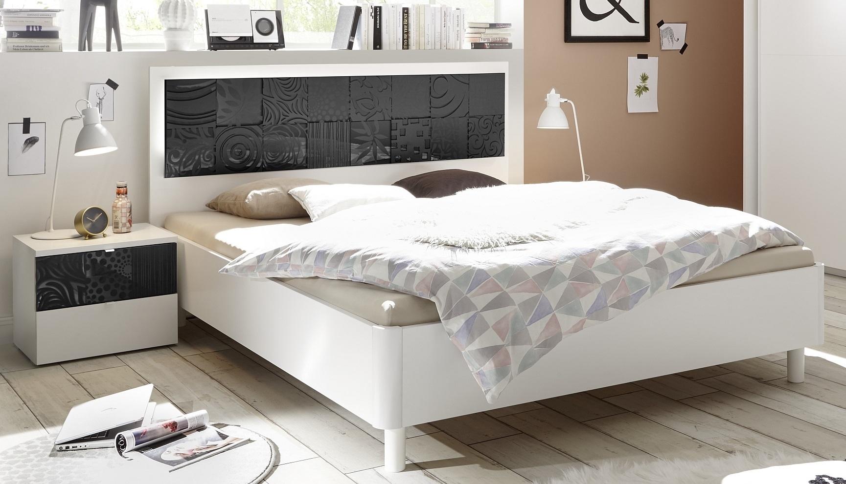 Tweepersoonsbed Perez 160x200cm in mat wit met hoogglans antraciet