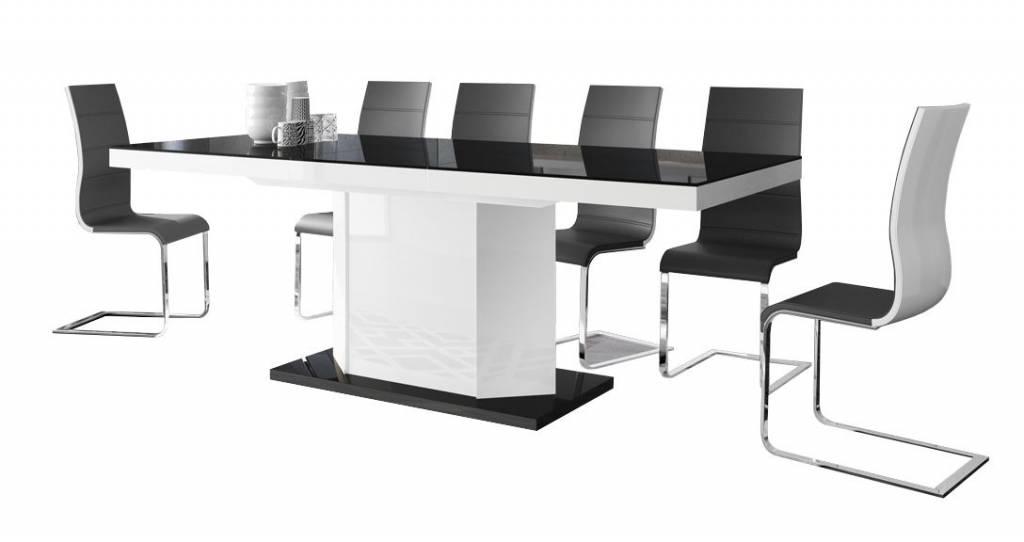 Uitschuifbare eettafel Amigo 140 tot 236 cm breed in hoogglans zwart met wit
