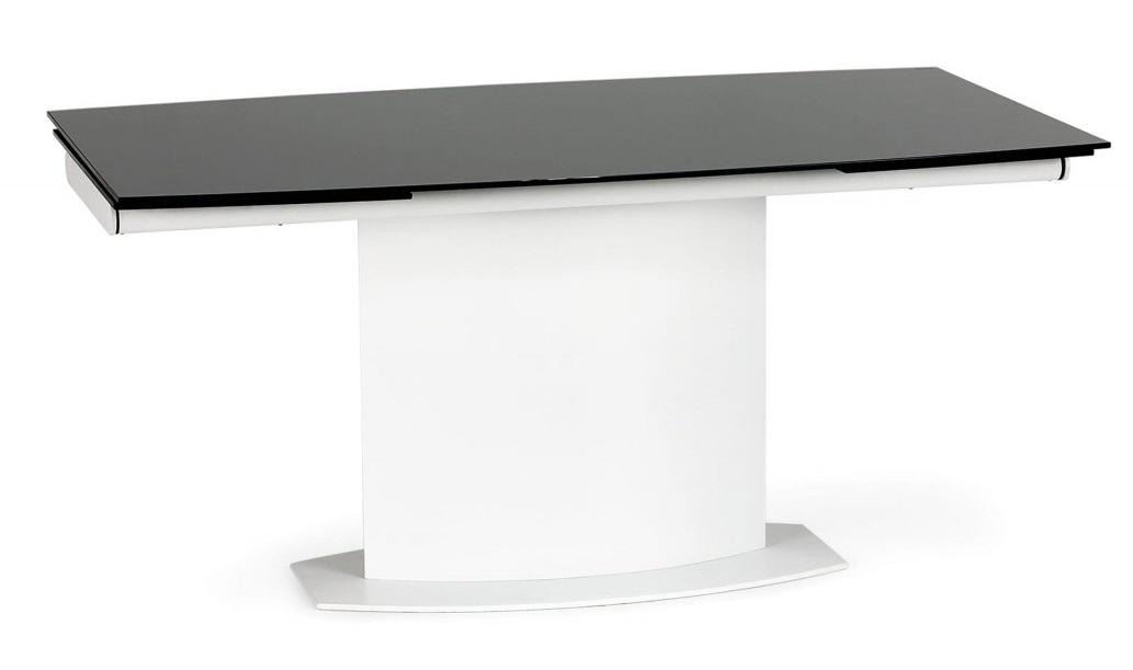 Uitschuifbare eettafel Anderson 160 tot 250cm breed zwart met wit