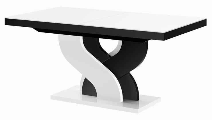 Uitschuifbare eettafel Bella 160 tot 256 cm breed in hoogglans wit met zwart
