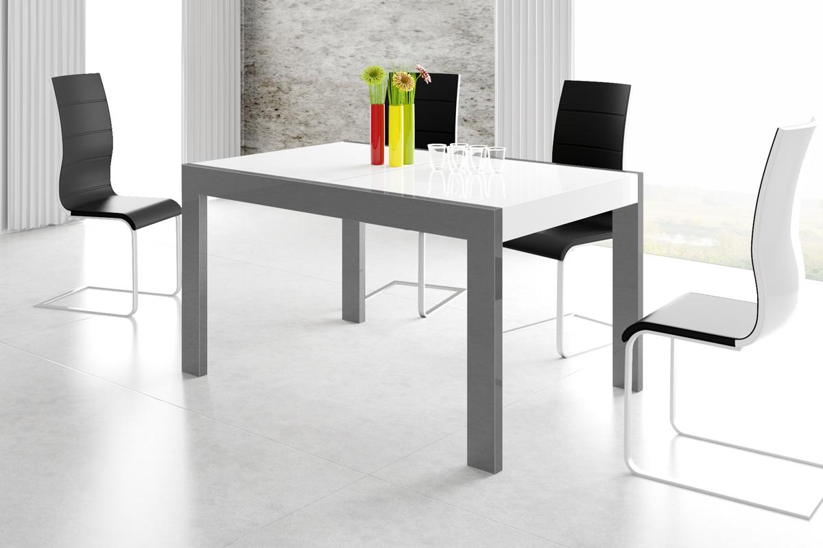 Uitschuifbare eettafel Imperia 160 tot 260 cm breed in hoogglans wit met grafiet grijs