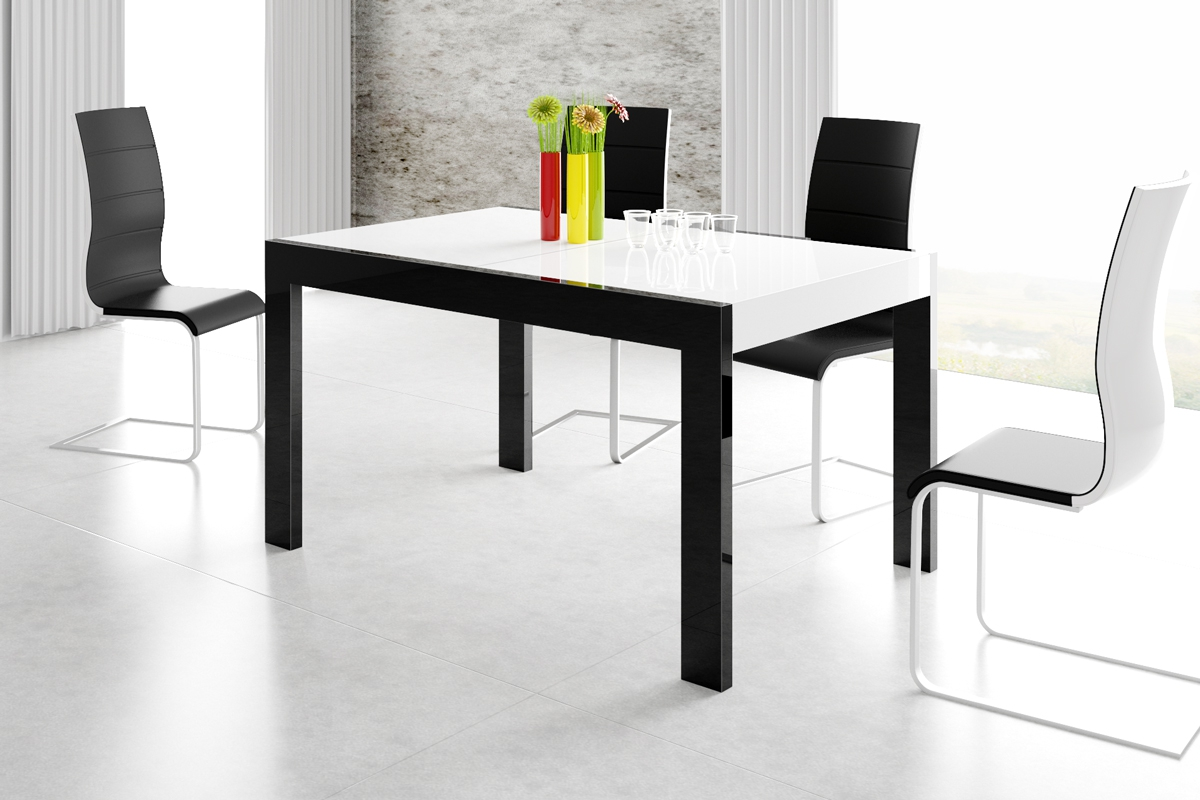 Uitschuifbare eettafel Imperia 160 tot 260 cm breed in hoogglans wit met zwart
