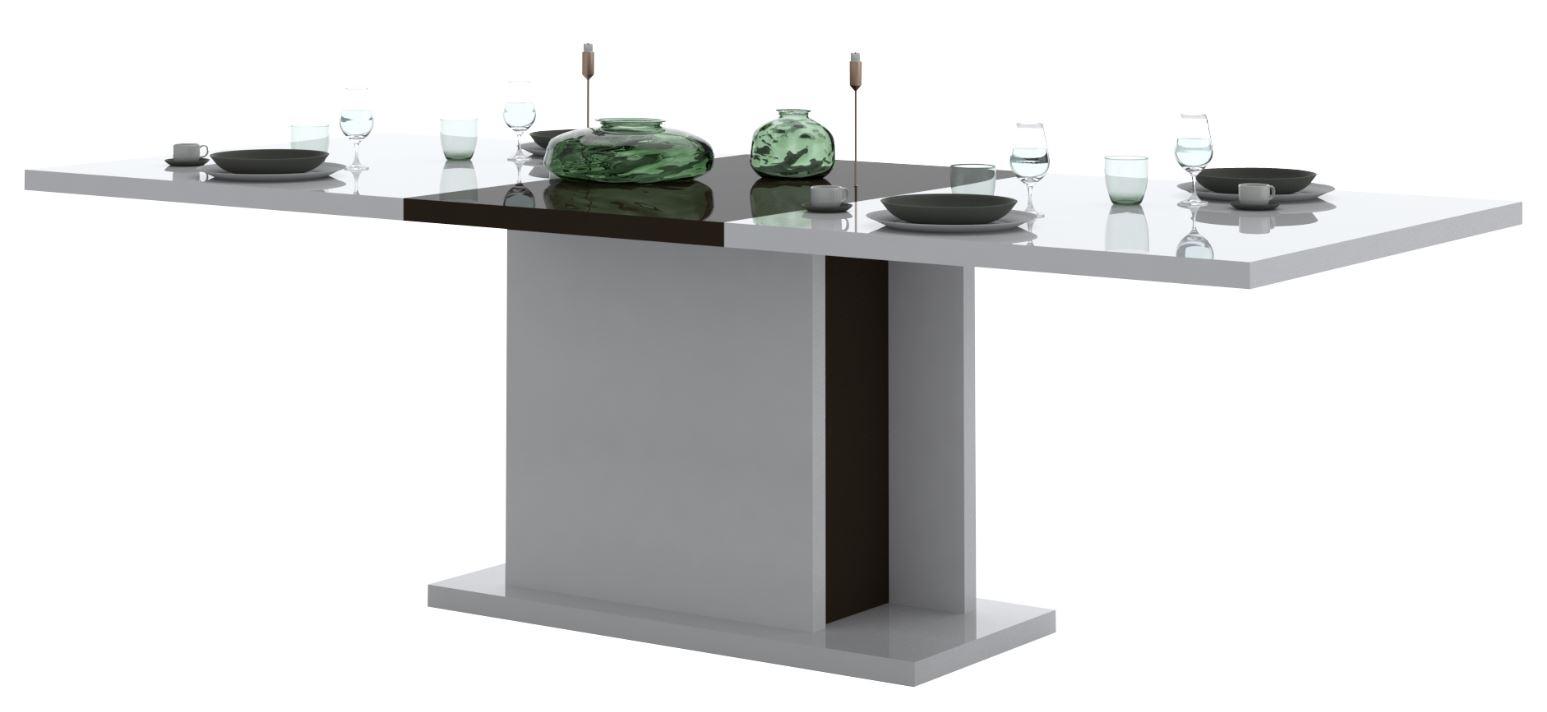 Uitschuifbare eettafel Karat 180 tot 225 cm breed - Hoogglans wit