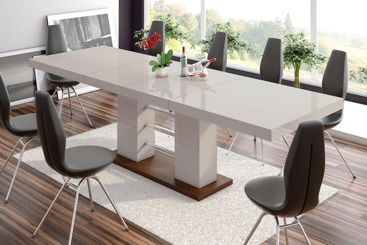 Uitschuifbare Eettafel Linosa 160 tot 260 cm breed in hoogglans cappuccino
