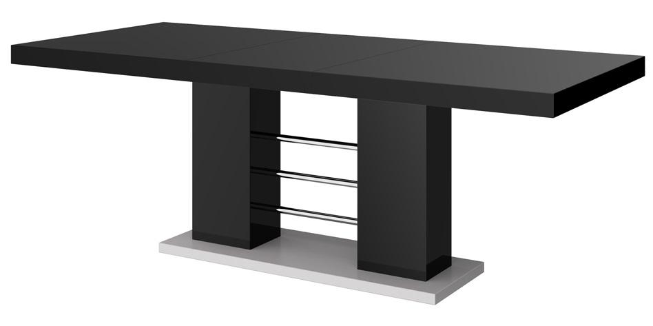 Uitschuifbare Eettafel Linosa 160cm tot 260cm Hoogglans Zwart