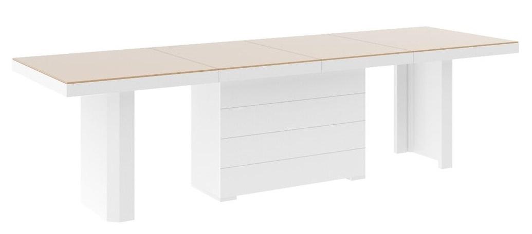 Uitschuifbare Eettafel Lokosta 160cm tot 412cm - Hoogglans Wit met Cappuccino