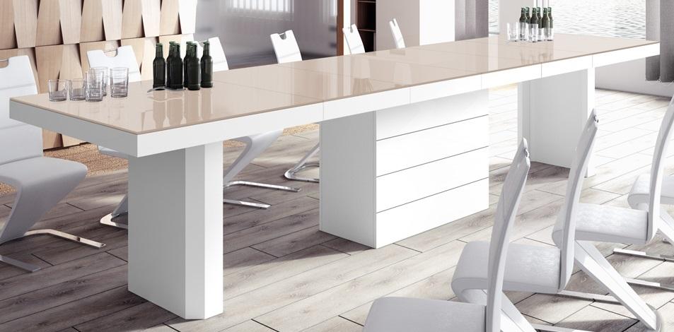 Uitschuifbare eettafel Kolos 160 tot 412 cm breed in hoogglans cappuccino met wit