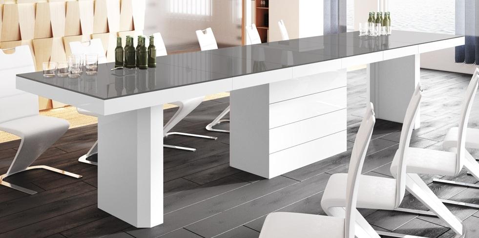 Uitschuifbare eettafel Kolos 160 tot 412 cm breed in hoogglans grijs met wit