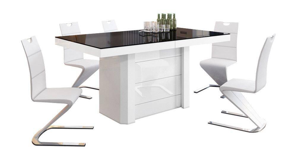 Uitschuifbare Eettafel Lokosta 160cm tot 412cm - Hoogglans Wit met zwart