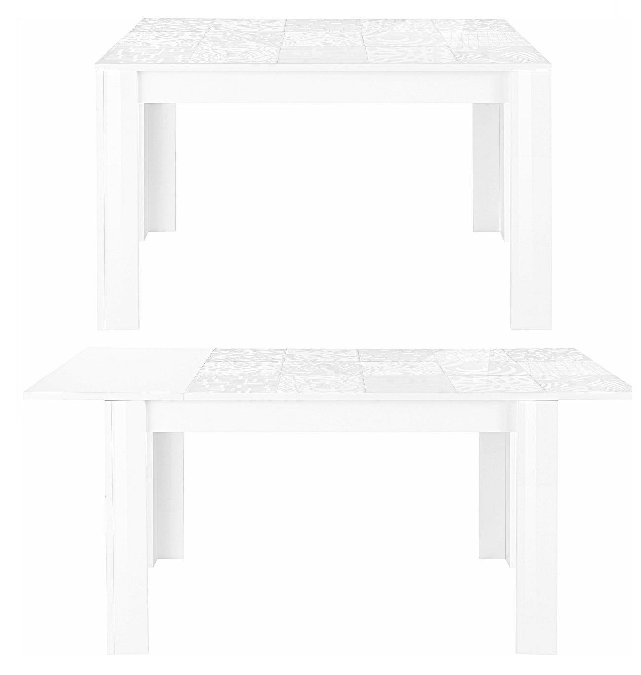 Uitschuifbare Eettafel Miro 137 tot 185 cm breed in hoogglans wit