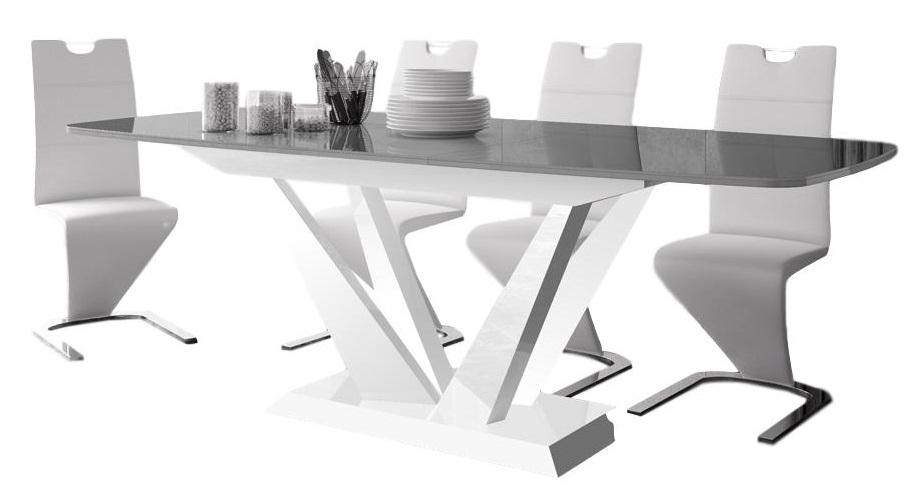 Uitschuifbare Eettafel Perfecto 160cm tot 256cm - Hoogglans Grijs met Wit