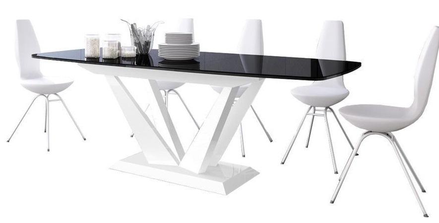 Uitschuifbare Eettafel Perfecto 160cm tot 256cm - Hoogglans Zwart met Wit
