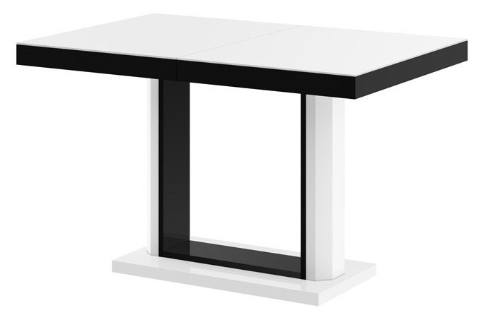 Uitschuifbare eettafel Quadro 120 tot 168 cm breed in hoogglans wit met zwart