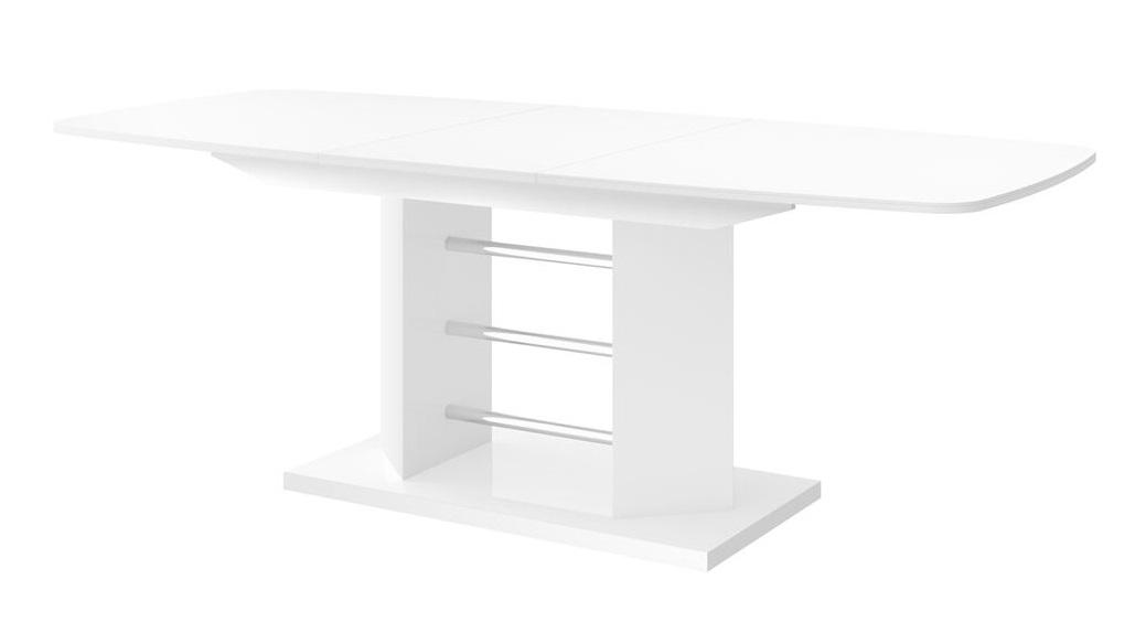 Uitschuifbare Eettafel Salino 160cm tot 256cm - Hoogglans Wit