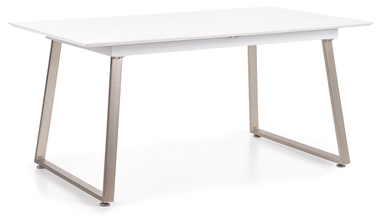 Uitschuifbare eettafel Thomas 160 tot 200 cm breed in wit met grijs beton