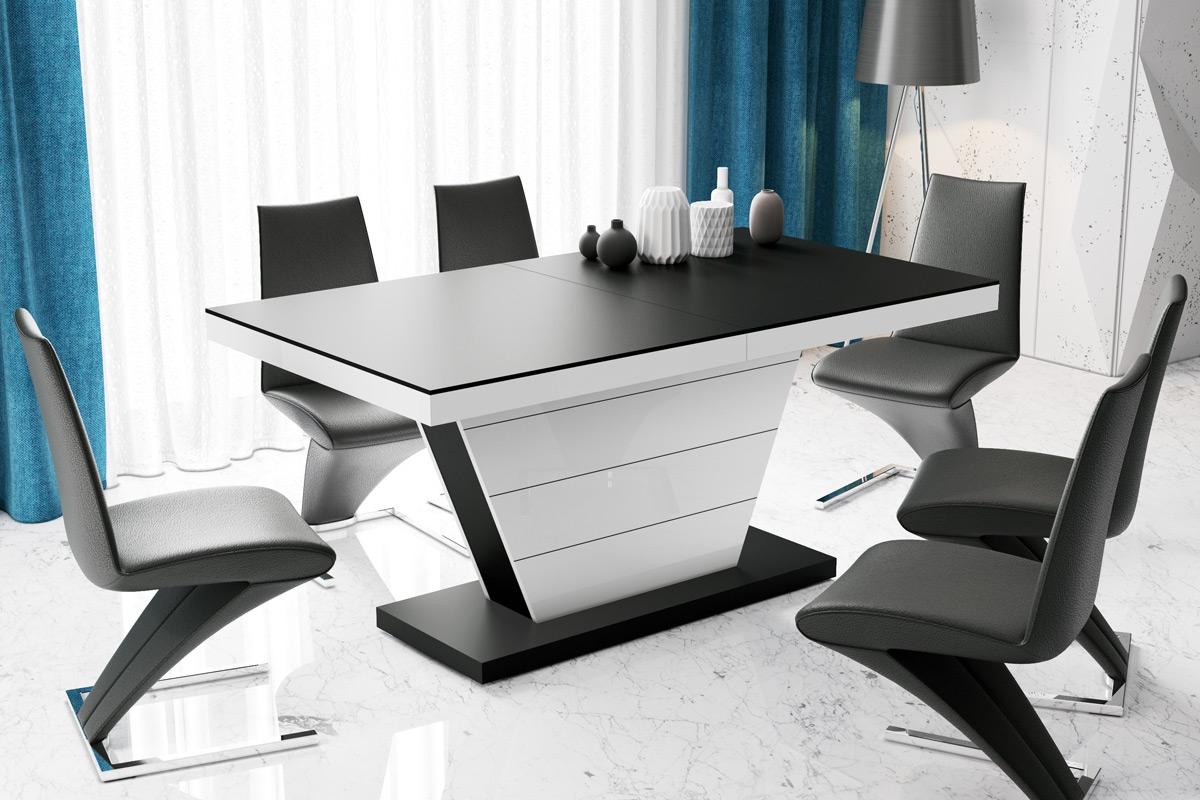 Uitschuifbare eettafel Vega 160 tot 256 cm breed in mat zwart met hoogglans wit