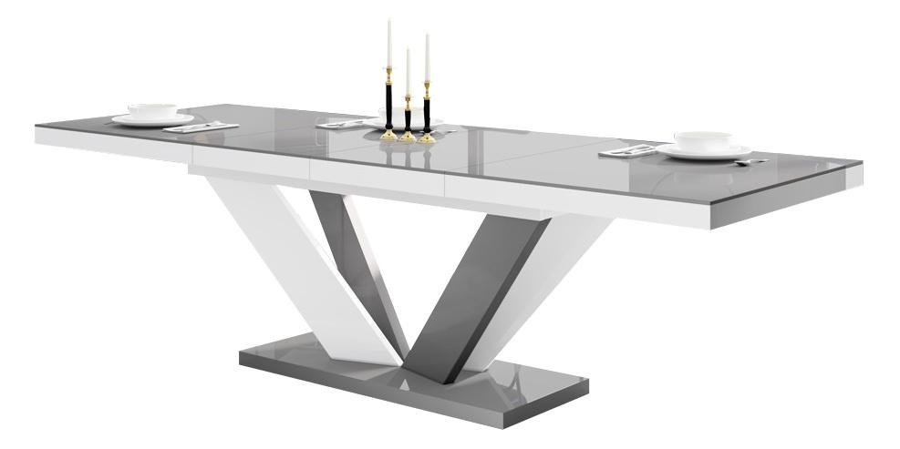 Uitschuifbare eettafel Vespa 160 tot 256 cm breed in hoogglans grijs met wit