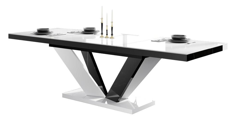 Uitschuifbare eettafel Vespa 160 tot 256 cm breed in hoogglans wit met zwart