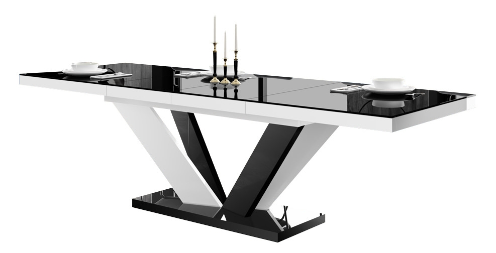 Uitschuifbare eettafel Vespa 160 tot 256 cm breed in hoogglans zwart met wit