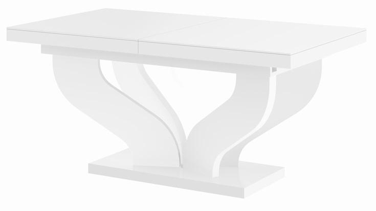 Uitschuifbare eettafel Viva 160 tot 256 cm breed in hoogglans wit