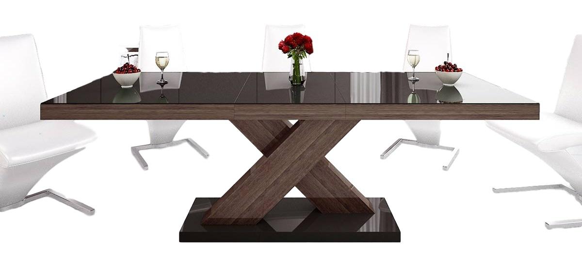 Uitschuifbare Eettafel Xenon 160cm tot 210cm - Hoogglans Bruin
