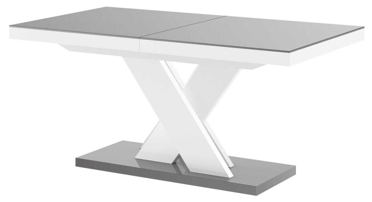 Uitschuifbare eettafel Xenon lux 160 tot 256 cm breed in hoogglans grijs met wit